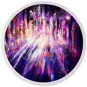 City Nights City Lights Round Beach Towel