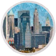 City - Ny - A Touch Of The City Round Beach Towel