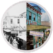 City - Ny - The Bowery 1900 - Side By Side Round Beach Towel