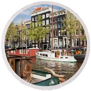 City Of Amsterdam Round Beach Towel