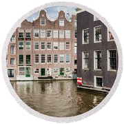 City Of Amsterdam Canal Houses Round Beach Towel
