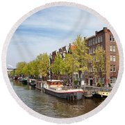 City Of Amsterdam In The Netherlands Round Beach Towel