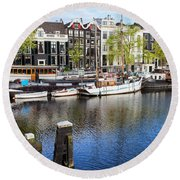 City Of Amsterdam River View Round Beach Towel