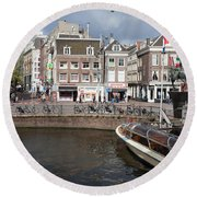 City Of Amsterdam Urban Scenery Round Beach Towel