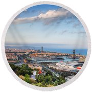 City Of Barcelona From Above At Sunset Round Beach Towel