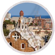 City Of Barcelona From Park Guell Round Beach Towel
