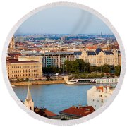 City Of Budapest Cityscape Round Beach Towel