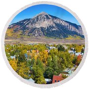 City Of Crested Butte Colorado Panorama   Round Beach Towel