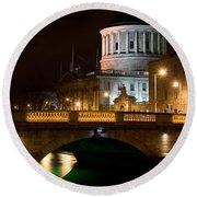 City Of Dublin At Night In Ireland Round Beach Towel