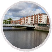 City Of Dublin In Ireland Round Beach Towel