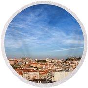 City Of Lisbon At Sunset Round Beach Towel