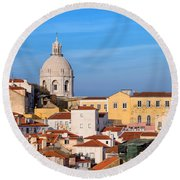 City Of Lisbon In Portugal Round Beach Towel