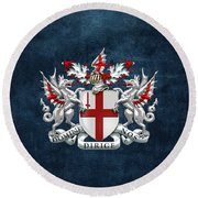 City Of London - Coat Of Arms Over Blue Leather  Round Beach Towel