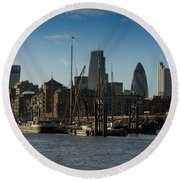 City Of London River Barges Wapping Round Beach Towel