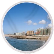 City Of Matosinhos Skyline In Portugal Round Beach Towel