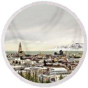 City Of Reykjavik  Round Beach Towel
