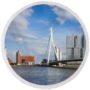 City Of Rotterdam Cityscape In Netherlands Round Beach Towel