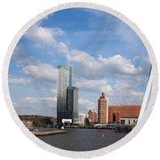 City Of Rotterdam From Erasmus Bridge Round Beach Towel