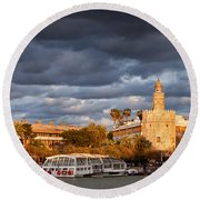 City Of Seville At Sunset Round Beach Towel