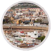 City Of Seville Cityscape In Spain Round Beach Towel