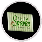 City Of Sparks Round Beach Towel