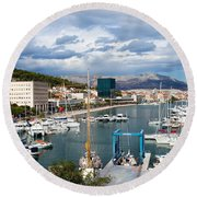 City Of Split Port In Croatia Round Beach Towel