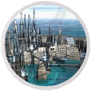 City Of The Future Round Beach Towel