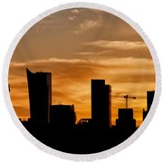 City Of Warsaw Skyline Silhouette Round Beach Towel