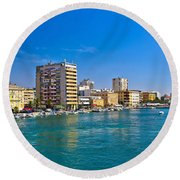 City Of Zadar Waterfront And Harbor Round Beach Towel