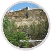 City On A Cliff Round Beach Towel