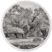 City Park Giants - Paint Bw Round Beach Towel