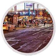 City Scene - Crossing The Street - The Lights Of New York Round Beach Towel