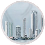 City Skyline, Bocagrande, Cartagena Round Beach Towel