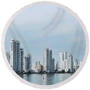City Skyline, Castillogrande Round Beach Towel