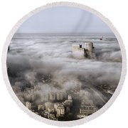 City Skyscrapers Above The Clouds Round Beach Towel
