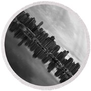 City Slope  Round Beach Towel