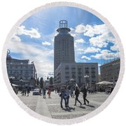 City Square In Stockholm Round Beach Towel