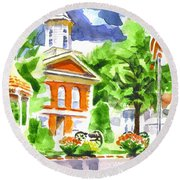 City Square In Watercolor Round Beach Towel