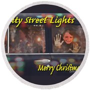 City Street Lights Round Beach Towel