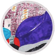 City Curb Street Parking Round Beach Towel