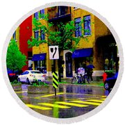 City Street Relections In The Rain Quebec Art Colors And Seasons Montreal Scenes Carole Spandau Round Beach Towel