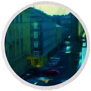 City Streets Digital Painting Round Beach Towel