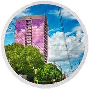 City Streets Of Charlotte North Carolina Round Beach Towel