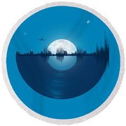 City Tunes Round Beach Towel