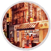 City - Vegas - Ny - Broadway Burger Round Beach Towel by Mike Savad