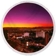 City - Vegas - Ny - Sunrise Over The City Round Beach Towel