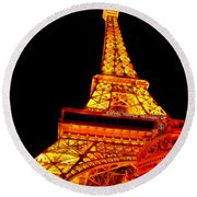 City - Vegas - Paris - Eiffel Tower Restaurant Round Beach Towel