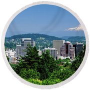 City With Mt. Hood In The Background Round Beach Towel