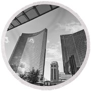 Citycenter - View Of The Vdara Hotel And Spa Located In Citycenter In Las Vegas  Round Beach Towel by Jamie Pham