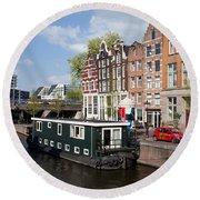 Cityscape Of Amsterdam Round Beach Towel